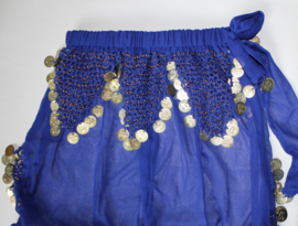 Harembroek chiffon transparant WIT, BLAUW, ZWART, FUCHSIA ROZE met zijsplit en met haakwerk en GOUDEN muntjes - one size fits 34 /36 /38 - Harempants transparent WHITE, BLUE, BLACK or FUCHSIA PINK with side slits, crocheted decorated, with GOLDEN coins