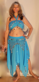 "Harem setje TURQUOISE ZILVER "" Jasmin Extra Large "" - 3-delig : topje + rok + hoofdbandje - M Medium, L Large, XL - 3-piece Haremcostume TURQUOISE BLUE, SILVER decorated : top + skirt + headband "" Yasmin Extra Large """