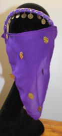 PAARS harem sluiertje met GOUDEN muntjes versierd - Niqab - PURPLE Harem veil, GOLD decorated