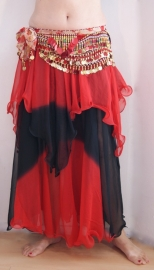 Rok bicolor chiffon 1 1/2 laag ROOD met ZWART - Bellydance skirt gradient chiffon 1 1/2 layer RED with black