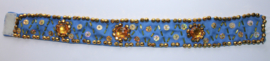 Choker Textiel halssnoer BLAUW GOUD - Choker Textile necklace BLUE GOLD