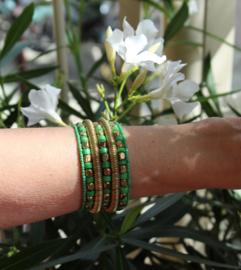 Armband Indian Tribal kraaltjes GROEN GOUD kleurig - one size - bracelet Indian Tribal GREEN GOLD color