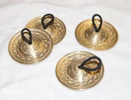 Zills diameter 5,5 cm met kettingmotief, setje van 4 stuks, goudkleurig - 5,5 cm diameter - Fingercymbals 5,5 cm diameter