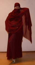 2-delig setje Cirkelrok + sluier DONKERROOD / BORDEAUX - Extra LONG - 2-piece set Circle skirt + veil WINE RED / BURGUNDY