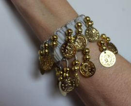 Muntjes armband GRIJS  GOUD - Small Medium - Coin bracelet GREY GOLD