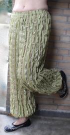 harembroek crincle voor dames / heren LICHT OLIJF GROEN met RAINBOW glimstrepen - one size - Harempants, baggy pants crincle chiffon for ladies or gentlemen OLIVE GREEN, RAINBOW colors striped - Saroual VERT OLIVE