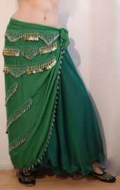 Sarong gordel met kralenhaakwerk GROEN, GOUD, ZILVER - XL, XXL, XLong - Sarong hipbelt GREEN scarf crocheted beaded with GOLD and SILVER beads and GOLDEN coins