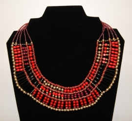 Farao1 halsketting uit de tijd van de Farao's : halssnoer rood zwart goud - Pharaonic jewel necklace  with red, black and golden beads Farao1
