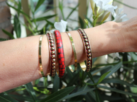 5-delige armbanden set GOUD ROOD ZWART - diameter 6,5 cm - 5-piece bracelet set, bangles GOLD RED BLACK