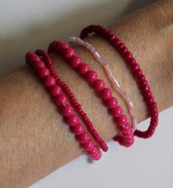 5-delige FUCHSIA ROZE armbanden setje elastisch - one size - 5-pce beaded bracelet set FUCHSIA PINK elastic