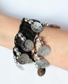 Muntjes armband ZWART ZILVER - one size - Coin bracelet BLACK SILVER