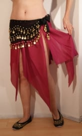 Puntenrokje met ongelijke punten FUCHSIA BORDEAUX- Kneelong  pointed skirt FUCHSIA WINERED
