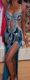Crystal collection : exclusieve  baladi  designer jurk / buikdansjurk DONKER AQUA GROEN met ZILVER - Baladi designer dress crystal collection GREEN BLUE / WATER GREEN SILVER decorated