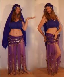 5-delig harem 1001 Nacht kostuum dames PAARS kleuren - L XL -  5-piece 1001 Night harem costume PURPLE colors