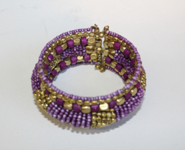 3D Armband Indian Tribal kraaltjes LILA PAARS GOUD - one size - 3D bracelet Indian Tribal PURPLE GOLD