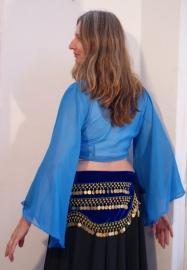 Vleermuistopje chiffon, knooptopje met wijde mouwen Turks BLAUW - Gypsy Butterfly tie top with wide sleeves  Turkish  BLUE