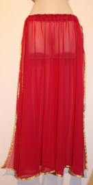 Buikdans rok BORDEAUX DONKER ROOD transparant chiffon met 2 splitten en gouden band rand - one size fits S, M, L, XL - 2 slit BURGUNDY DARK RED transparent chiffon skirt, gold band rimmed