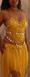 3-delig Harem setje dames : hoofdbandje + topje + rokje GEEL - XXS XS S - 3-piece set harem costume ladies YELLOW