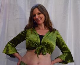 Knooptopje stretch fluweel olijf groen M, L, XXL