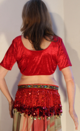 Choli top fluweel ROZEROOD / KERSEN ROOD met  korte mouwen - one size - choli top velvet CHERRY RED