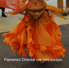 Trio van Rok + Sluier + Wavepants. Flamenco Oriental rok met roesjes bicolor ORANJE - 3-piece set gypsy Skirt + Veil + Wavepants. Flamenco Oriantal skirt gradient ORANGE, ruffles rimmed