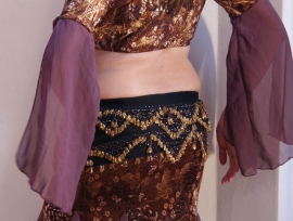 2-delig Klassiek ensemble top + rok aubergine-bruin- one size -  2-piece raqs Sharqi bellydance ensemble plum color