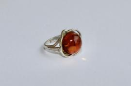 ZILVEREN ring met AMBER steen - maat 56-58, diameter 18 mm - SILVER ring with AMBER stone