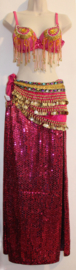 FUCHSIA / FEL ROZE rechte 2-splitten glitter rok voor Burlesque of Buikdans - L / XL 40/42 - Straight 2-split glitter skirt for Burlesque or Belly dance