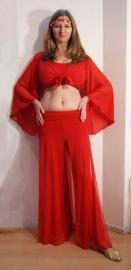 Gipsy Vleermuistopje chiffon, knooptopje met wijde mouwen ROOD - Gypsy Butterfly tie top with wide sleeves  RED