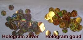 Plastic muntjes in effen goud, hologram goud of hologram zilver - 21 mm diameter - plastic laser sequins, coins for decorating your own costume