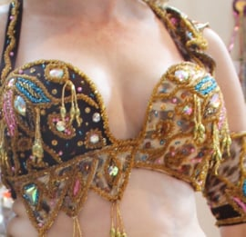 Egyptisch cabaret bellydance kostuum 6-delig met smalle rok ROZE BRUIN,  GOUD, MULTICOLOR, JUNGLE PRINT met Swarowsky kristallen - PINK, BROWN, GOLD, MULTICOLOR Egyptian Cabaret style bellydance costume with one slit straight skirt, Rhinestone crystals