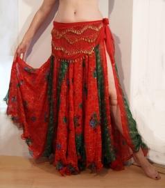 Bollywood 05 : Wijde multicolor cirkelrok met 2 splitten rood groen - Bollywood skirt red / green multicolor with 2 slits