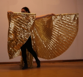 Isiswings effen GOUD glanzend lamé / lamee - Wings of Isis GOLD lamé fabric - Ailes d'Isis opaques dorées