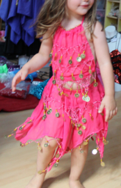Buikdanskostuum met muntjes meisjes 3-delig : topje, hoofdbandje en rokje (2-5 jaar) ROSE - FUCHSIA - 3-piece BRIGHT PINK Bellydance costume for girls : skirt + top + headband