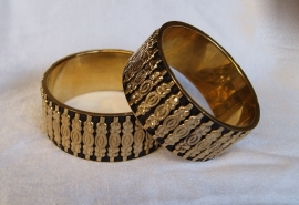 1 Faraonische Armband GOUD ZWART - S Small diameter 6,50 cm - 1 Pharaonic bracelet GOLD with BLACK