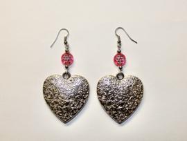 Lichtgewicht XL Hartjes oorbellen ZILVER kleurig met ROZE - Zilver4 - XL Hearts earrings PINK and SILVER colored
