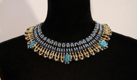 Faraonisch halssnoer met scarabeeën : zwart, goud en BLAUW- Medium - Pharaonic  Necklace with Scarabs : black, gold and BLUE