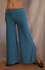 Oefenbroek met zijsplit onderaan TURQUOISE BLAUW  jersey - one size - exercise pants stretch TURQUOISE BLUE with low slits at the outside