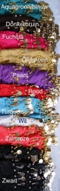 Basic Muntjesgordel - Basic belt 13  kleuren : AQUA BLAUW, (DONKER)ROOD, BLAUW, FUCHSIA, GEEL, PAARS, ROZE, TURQUOISE, WIT, ZALM ROZE, ZWART  - Basic bellydance hipbelt 13 different colors