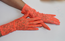 1 paar handschoenen  FLUO ORANJE kant transparant -  dames - lady - 1 pair of gloves FLUORESCENT ORANGE lace