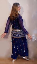 Saidi netjurk KONINGS BLAUW met plastic muntjes - Saidi dress, net fabric,  ROYAL BLUE transparent with plastic coins