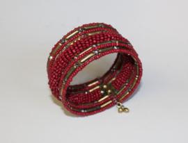 3D Armband Indian Tribal kraaltjes ROOD GOUD - one size - 3D bracelet Indian Tribal RED GOLD