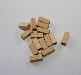 Houten kraaltjes 10 mm lang 4 mm breed - wooden beads 10 mm long x 4 mm wide