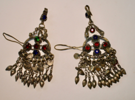 set van 2 Pendanten met BLAUWE, GROENE en RODE glaskralen ingelegd - vintage Pendant22 - set of 2 Pendants with BLUE, GREEN  and RED glass stones inlay