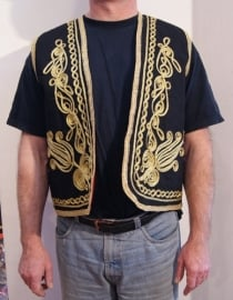 Gilet Heren mouwloos model ZWART met goud - XL, XXL - Waistcoat Men BLACK with gold - Gilet 1001 Nuits pour homme