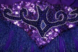 6-delig buikdanskostuum PAARS ZILVER volledig gepailletteerd, pailletten en kralen- Fully sequinned 6-piece bellydance costume PURPLE SILVER