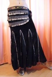 Buikdans rok zeemeermin fluweel zwart met zilver  S Small M Medium