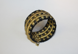 Armband Indian Tribal kraaltjes ZWART GOUD - one size - bracelet Indian Tribal BLACK GOLD