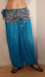 Harembroek katoen met glimstreepje TURQUOISE / TURKOOIS - one size - Harempants cotton TURQUOISE BLUE - Saroual BLEU TURQUOISE