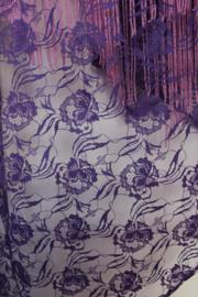 Rechthoekige transparante Sluier van bloemen kant PAARS - Extra Large 315cm x 125cm - Rectangular veil PURPLE sheer flowered lace